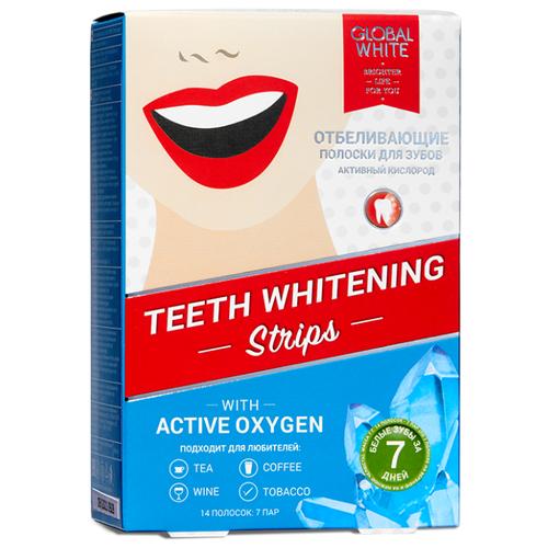 Global White Отбеливающие полоски для зубов с активным кислородом за 7 дней, 14 шт.