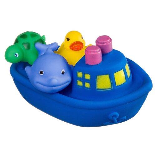 Фото - Набор для ванной BONDIBON Корабль, дельфин, утенок, черепаха (ВВ2755) синий/желтый/зеленый игровой набор bondibon кафе гамбургерная вв3699 желтый зеленый