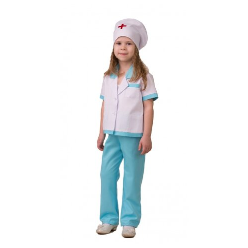 Купить Костюм Батик Медсестра 2 (5706-1), белый/голубой, размер 128, Карнавальные костюмы