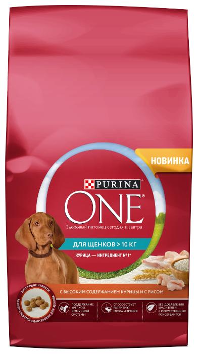 Корм для собак Purina ONE для щенков собак средних и крупных пород, с высоким содержанием курицы и с рисом