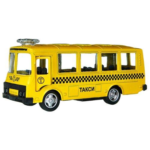 Детская инерционная металлическая машинка Serinity Toys, модель Автобус ПАЗ Такси