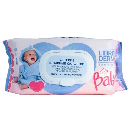 Купить Влажные салфетки Librederm детские для бережного очищения кожи новорожденных, младенцев и детей пластиковая крышка 70 шт.