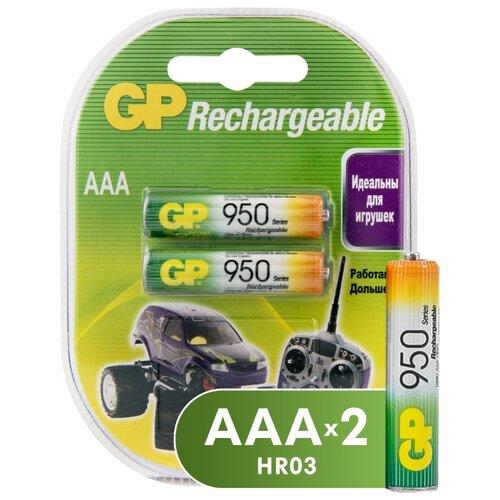 Аккумулятор Ni-Mh 950 мА·ч GP Rechargeable 950 Series AAA 2 шт блистер аккумулятор ni mh 2700 ма·ч эра c0038458 2 шт блистер