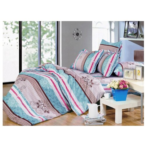 Постельное белье 1.5-спальное СайлиД A-138, поплин, 70 х 70 см голубой/коричневый