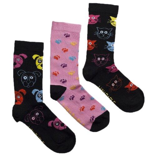 Носки Lunarable Собаки-кошки, 3 пары, размер 35-39, черный/розовый
