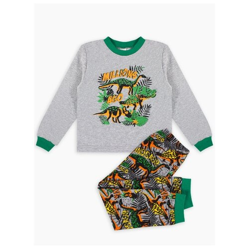 Фото - Пижама Веселый Малыш размер 92, серый/зеленый/оранжевый пижама веселый малыш размер 92 серый синий