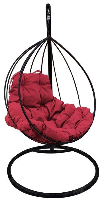 """Купить Черное подвесное кресло """"капля"""" с бордовой подушкой по низкой цене с доставкой из Яндекс.Маркета"""