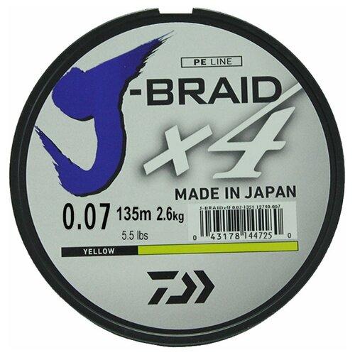 Плетеный шнур DAIWA J-Braid X4 yellow 0.07 мм 135 м 2.6 кг