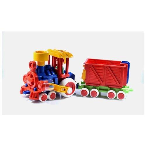 Купить Каталка-игрушка Форма Паровозик Ромашка с вагоном (С-118-Ф) синий/красный/желтый, Каталки и качалки