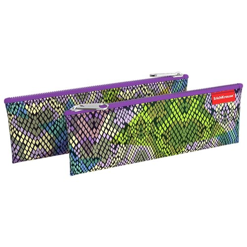 Купить ErichKrause Пенал-конверт Purple Python (49024) фиолетовый/зеленый/голубой, Пеналы
