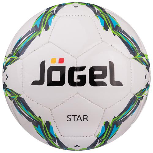 Футбольный мяч Jogel Star белый/голубой/зеленый 4