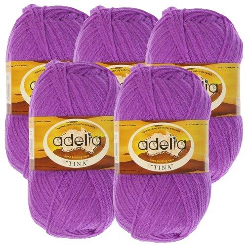 Купить Пряжа Adelia Tina, 100 % акрил, 100 г, 308 м, 5 шт., №037 фиолетовый