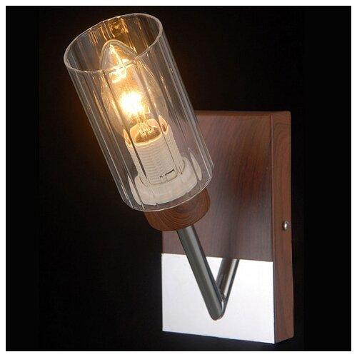 цена на Настенный светильник Natali Kovaltseva HELSINKI WOOD 81043-1W WOOD, CHROME, 40 Вт