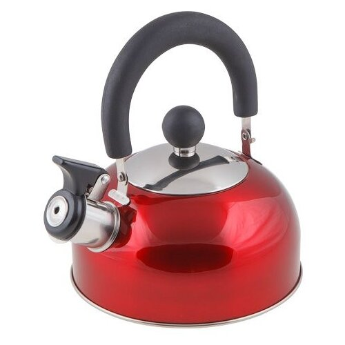 Чайник со свистком, нержавеющая сталь, 1.2 л, серия Holiday, красный металлик, PERFECTO LINEA (диаметр 16,5 см, высота 13,5 см, общий объем изделия 1,