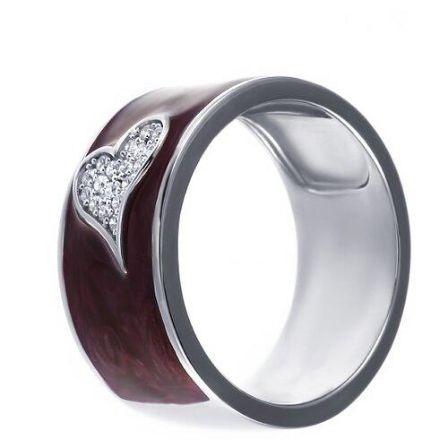ELEMENT47 Широкое ювелирное кольцо из серебра 925 пробы с кубическим цирконием и эмалью ML12521A_KO_ENAM_003_WG, размер 18