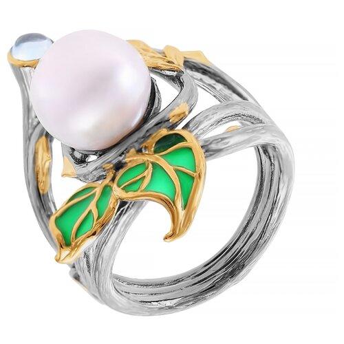 ELEMENT47 Кольцо из серебра 925 пробы с топазами, барочным жемчугом и эмалью YR01432_KO_BT_WB_ENAM_BJ, размер 16.5