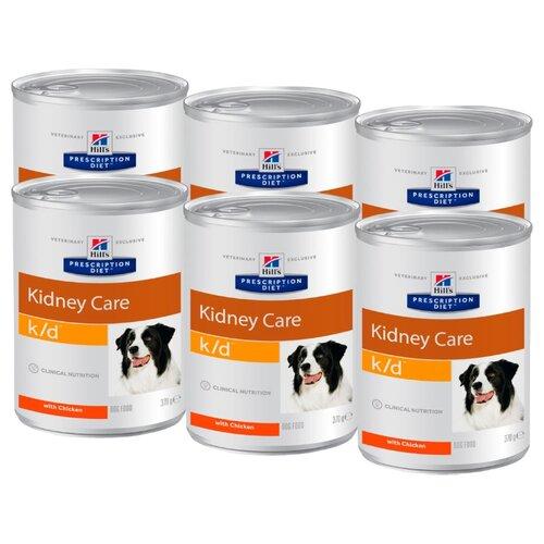 Влажный корм для собак Hill's Prescription Diet при заболеваниях почек, курица 6шт. х 370г