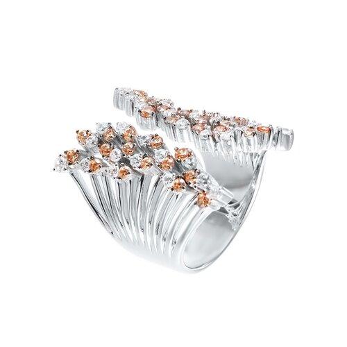 ELEMENT47 Широкое ювелирное кольцо из серебра 925 пробы с кубическим цирконием SR-B02265BC_KO_001_WG, размер 17