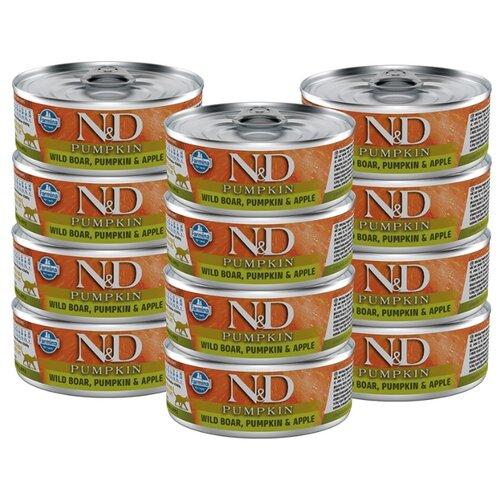 Влажный корм для кошек Farmina N&D, беззерновой, с кабаном, с тыквой, с яблоком 12шт. х 80 г (кусочки в соусе)