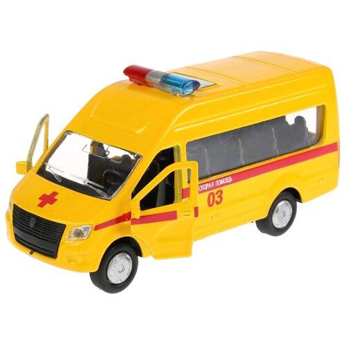 Купить Микроавтобус ТЕХНОПАРК ГАЗель NEXT Скорая помощь (SB-18-19-A-W-WB/SB-18-19-A-Y-WB) 12 см желтый, Машинки и техника