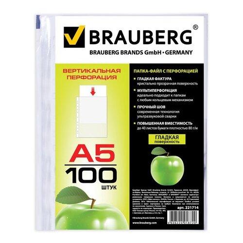 BRAUBERG Папка-файл перфорированная Яблоко, А5, 100 шт. прозрачный