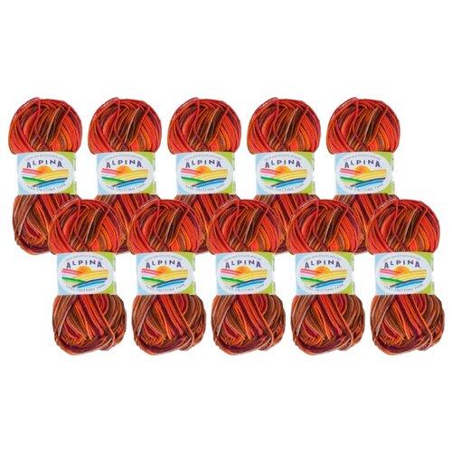 Купить Пряжа Alpina Katrin, 100 % хлопок, 50 г, 140 м, 10 шт., №220 бордовый-оранжевый-коричневый-фиолетовый
