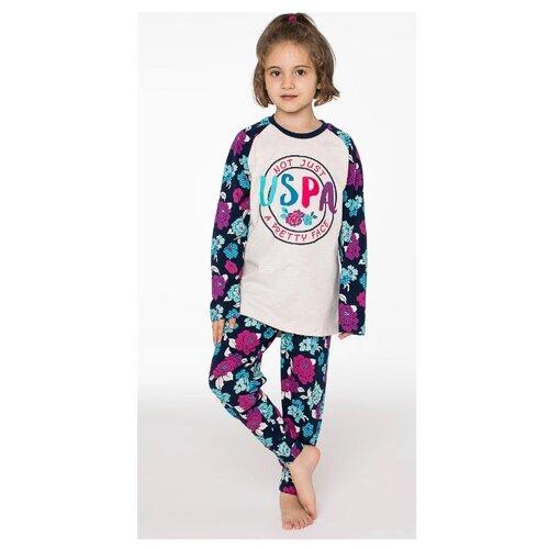 Пижама U.S. POLO ASSN. размер 6, бежевый меланж/темно-синий