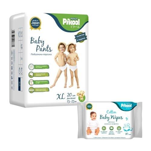 Купить Pikool трусики Premium XL (15-25 кг) 20 шт. + влажные салфетки Premium 10 шт., Подгузники