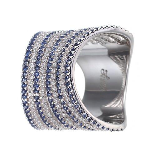 ELEMENT47 Широкое ювелирное кольцо из серебра 925 пробы с кубическим цирконием DM0923_BLWR_001_WG, размер 18
