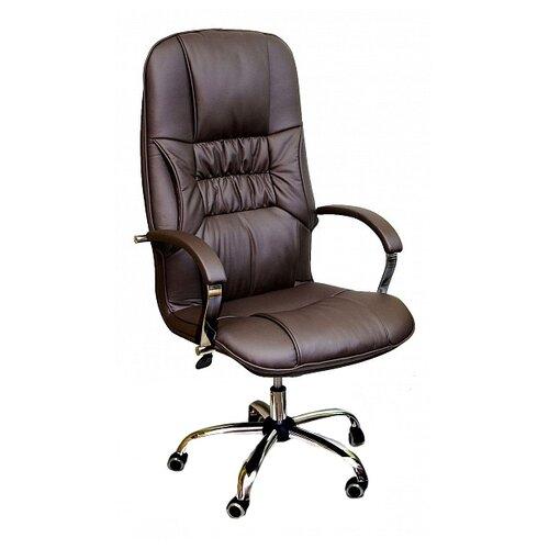 Компьютерное кресло Креслов Бридж хром для руководителя, обивка: искусственная кожа, цвет: шоколадный стул креслов самба кв 10 100000 0406