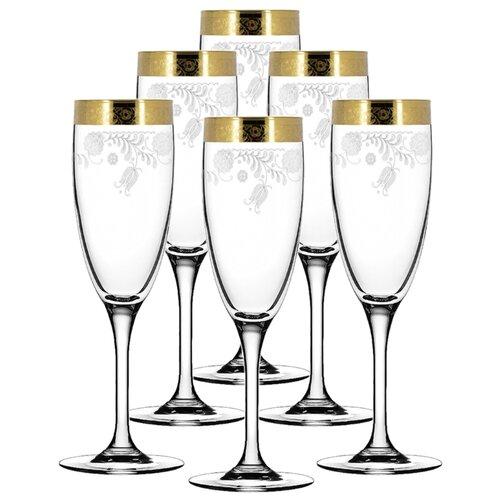 ГУСЬ-ХРУСТАЛЬНЫЙ Набор бокалов для шампанского Эдем Нежность 6 шт 170 мл прозрачный/золотой гусь хрустальный набор бокалов для бренди лоза tav116 1812 6 шт прозрачный золотой