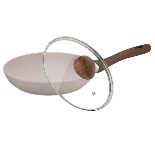 Сковорода Peterhof PH-25313-24 24 см с крышкой, бежевый сковорода d 24 см kukmara кофейный мрамор смки240а