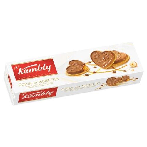 Печенье Kambly Сoeur aux noisettes с фундуком, карамелью и молочным шоколадом, 100 г