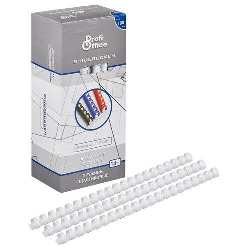 Фото - Пружины для переплета пластиковые ProfiOffice 14мм, белый 100 штук в упаковке портмоне profioffice mt 48s синий