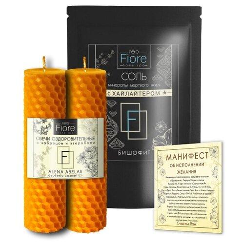 Fiore/Эзотерика СПА - набор ОЗДОРОВИТЕЛЬНЫЙ Восковые свечи Соль для ванн БИШОФИТ, Таро - расклад / Прогноз