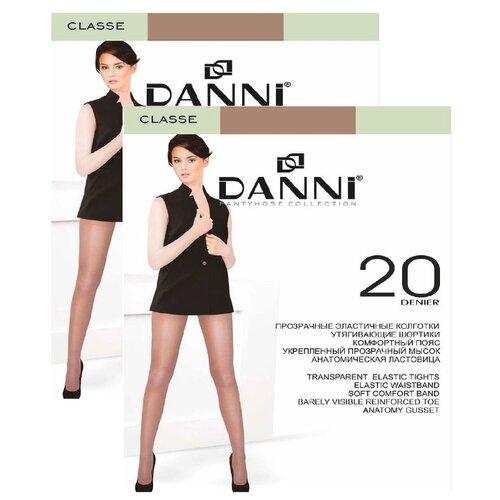 Колготки DANNI Classe 20 den, размер 4, загар (коричневый), 2 пары колготки женские золотая грация шансон 20 цвет загар размер 4 46