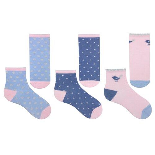 Купить Носки НАШЕ комплект 3 пары размер 22/34-36, голубая дымка/розовая дымка/темный джинс