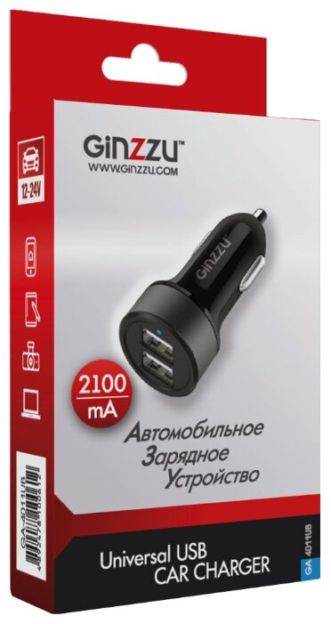 Автомобильная зарядка Ginzzu GA-4011UB