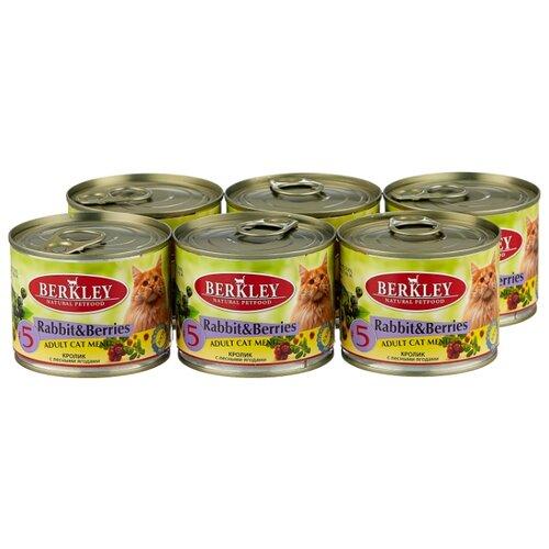 Влажный корм для кошек Berkley 6 шт. Паштет для кошек #5 Кролик с лесными ягодами 0.2 кг 6шт. х 200 г влажный корм для собак berkley 0 4 кг 6 шт паштет для щенков кролик с овсяными хлопьями 6шт х 400г