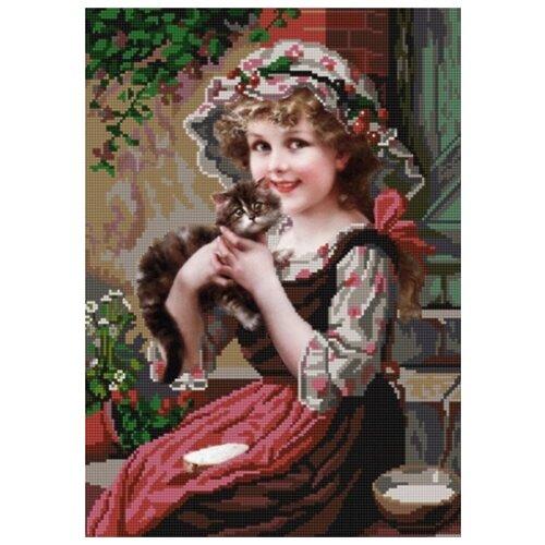Купить Девочка с котёнком (рис. на сатене 29х39) 29х39 Конек 9727, Конёк, Канва