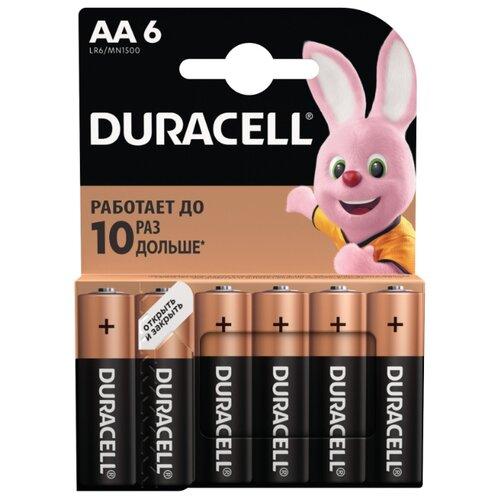 Фото - Батарейка Duracell Basic AA, 6 шт. батарейка duracell basic aa 18 шт