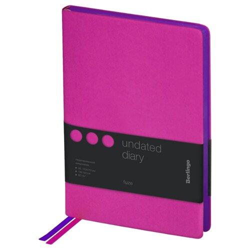 Купить Ежедневник Berlingo Fuze недатированный, искусственная кожа, А5, 136 листов, фуксия, Ежедневники, записные книжки