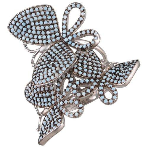 Эстет Кольцо с фианитами из серебра 01К2510055ЧР-1, размер 19 ЭСТЕТ
