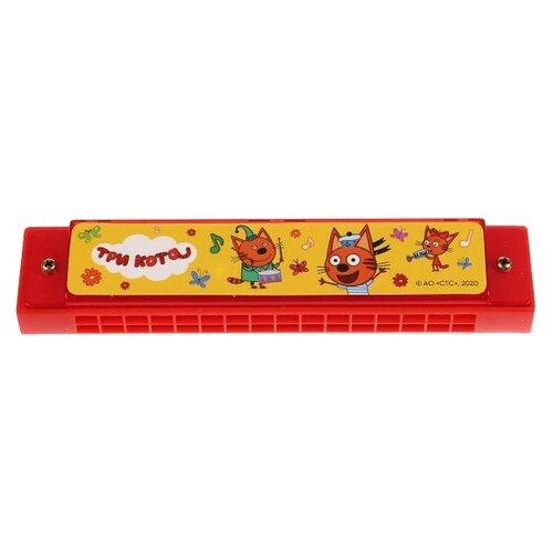 Купить Играем вместе губная гармошка Три кота 0506M126-R1 красный/желтый, Детские музыкальные инструменты