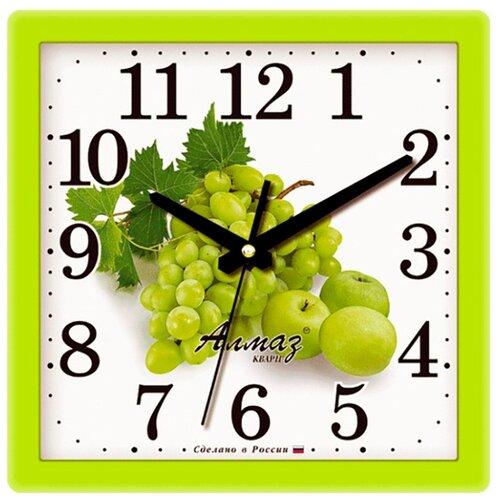Часы настенные кварцевые Алмаз M42 зеленый/белый