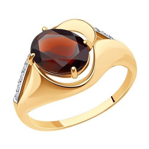 Diamant Кольцо из золота с гранатом и фианитами 51-310-00924-2, размер 17 diamant кольцо из золота с гранатом 51 310 00182 2 размер 17