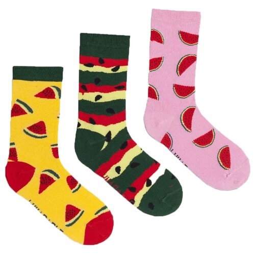 Носки Lunarable Арбузы, 3 пары, размер 35-39, желтый/зеленый/розовый