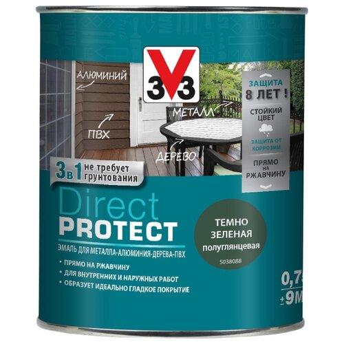 Эмаль алкидная (А) V33 Direct Protect 1138 темно-зеленый 0.75 л