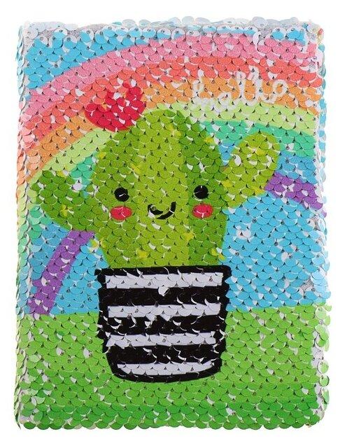 Купить Ежедневник Calligrata Пайетки Кактус 4359239 недатированный, А6, 80 листов, зеленый/голубой по низкой цене с доставкой из Яндекс.Маркета (бывший Беру)