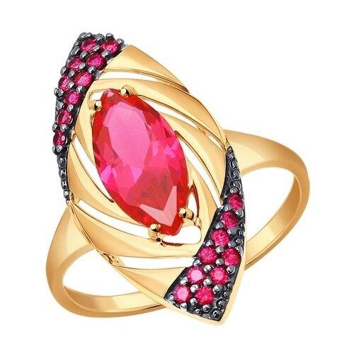 SOKOLOV Кольцо из золота с корундом и фианитами 714311, размер 18 sokolov кольцо из золота с жемчугом и корундом 791038 размер 18